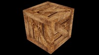 3d uv wooden crate asset