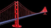 3d model of suspension bridge golden gate