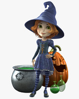 3d cartoon witch