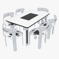 dining table chairs-2 chairs 3d 3ds