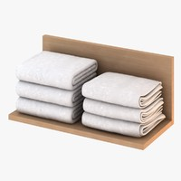 3d model white folded towels
