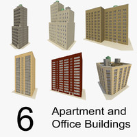 6 offices apartment buildings 3d 3ds