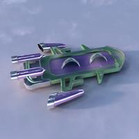 obj futuristic hoverboard