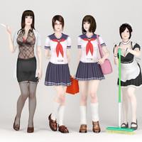 3dsmax posed 4 girls various