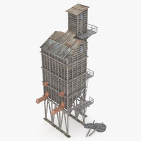3d old wooden coal tipple