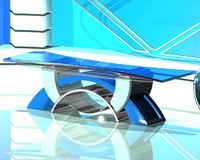 tv studio news desk 3d dxf