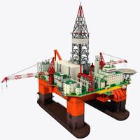 oil rig platform 1 3d model
