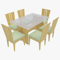 dining table chairs-3 chairs 3d max