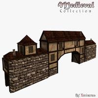 3d model medieval gatewall ready
