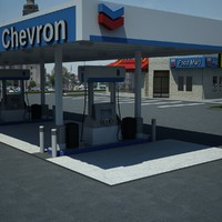 gas station chevron 3d model