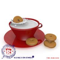 cup milk cookies 3d model