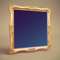 1d baroque painting frame 3d model