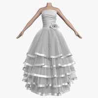 3d model wedding dress 007 female shoes