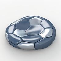 soccer ball black 3d 3ds