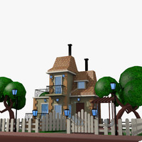 3d model of 2 cartoon movie houses