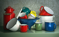 3d enameled cookware set model