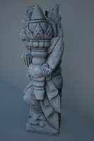 3d statue tanah lot model