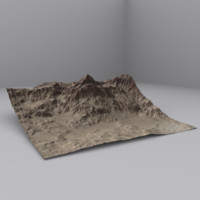 3d desert mountain model