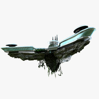 sci fi island 3d model