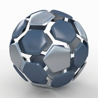 soccer ball black 3d 3ds