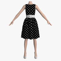 3d dress white peas female mannequin model
