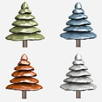 3d c4d cartoon trees