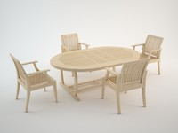 3d outdoor furniture chairs table wood model