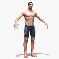 3d model athletic swimmer