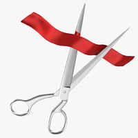 3ds scissors cutting red tape