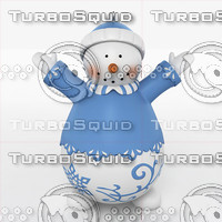 snow man snowman 3d obj