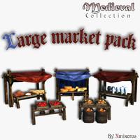 3d model medieval market stand