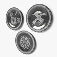 decorative ethnic wall dishes 3d 3ds