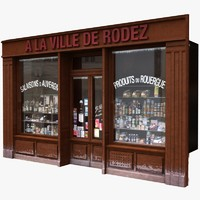 typical paris shop facade 3d lwo