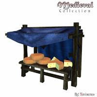 3d model of medieval market stall