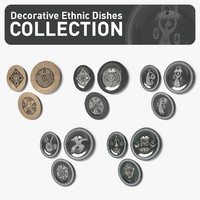 decorative ethnic dishes 3d model