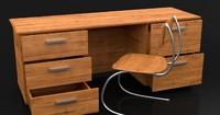 3d modern wooden desk wood