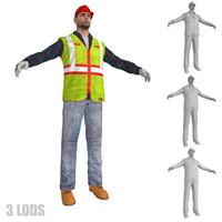worker lods 3d model