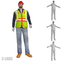 rigged worker lod 3d max