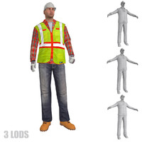 rigged worker lods s 3d 3ds