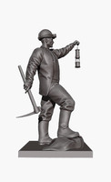 3d model mine-worker collier pitman sculpture