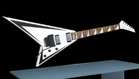 3d model randy rhoads guitar white