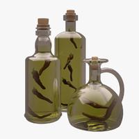 olive oil bottles 3d max