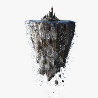 3d lighthouse floating island model