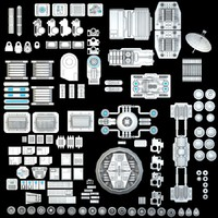 science fiction mechanical parts max