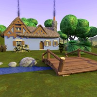 3d cartoon landscape cottage scene