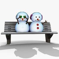 3d model snowman bench