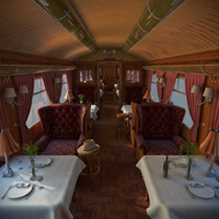 old luxury train dining 3d model
