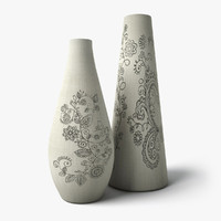 painted flower vases 2 3d 3ds