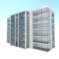 3d modern apartment building exterior model
