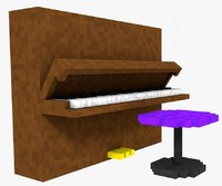 3d model minecraft piano pack chair